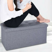 Classics Foldable Storage Stool Footrest Toy Box Coffee Table Chest Ottoman Gray