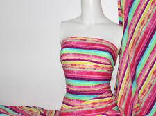 Multi Color Stripes Lycra/Spandex 4 way stretch Matt Finish Fabric