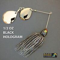 Bassdozer spinnerbaits DEEP CUP 1/2 oz BLACK HOLOGRAM spinner bait fishing lures