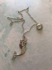 The Siren of the Deep Silver Mermaid with Clam Shell Locket Necklace