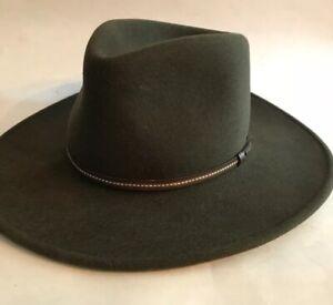 "Stetson Crushable Wool Hat Cowboy Fedora Green Gallatin Soft Small USA 20 1/2"""