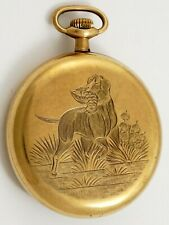 ILLINOIS BURLINGTON 12 SIZE GOLD FILLED HUNTING DOG POCKET WATCH CASE