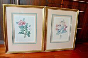 "2 Framed Botanical  Prints Wood Frame 21 1/2"" X 17 1/2"" P J Redoute"