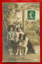 Dog Collie And Children Vintage Photo Postcard Used 370