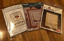 (3) Cross Stitch Ribbon Embroidery Kits Baby, Love, Bible Psalm 34:8 Sampler