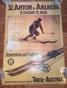 """Vintage Austria Arlberg Ski Poster St Anton 24""""x16.5"""" Rare"""