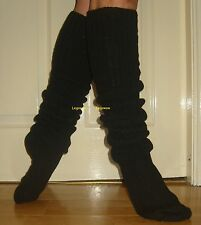Long Loose Black Slouch Socks Japanese School Scrunch Over The Knee High OTK