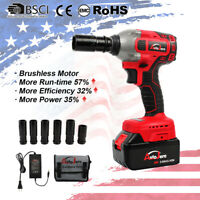 """Portable 1/2"""" 20V Cordless Impact Wrench Brushless Torque Rattle Gun Electric"""