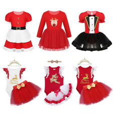 Toddler Kids Girls Christmas Costume Outfit Elk Tutu Fancy Dress Set Xmas Party