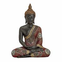 Buddha Figur Statue Dekofigur Feng Shui Garten Budda Skulptur Schwarz Rot Gold