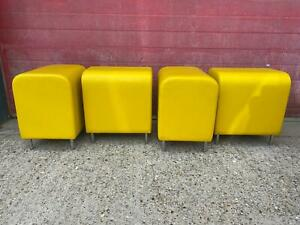4 x Matching Yellow Leather Cube Low Stools Retro on Chrome Legs
