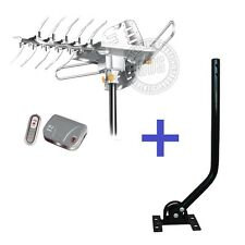 LAVA HD2605 HDTV Rotor Amplified Outdoor TV Antenna + Universal Mounting J Pole