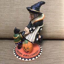 P Pam Schifferl Witch Black Cat Halloween Folk Art Figure Midwest Cannon Falls