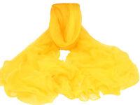 "Women's 100% Chiffon Silk Scarf / Yellow / Solid / 68"" X 42"""