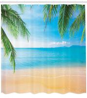 Beach Themed Decor Exotic Lagoon Sand Sea Ocean Paradise Picture Shower Curtain