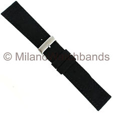 20mm Hadley Roma Padded Stitched Genuine Cordura Canvas Black WatchBand 850