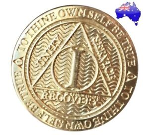 AA alcoholics anonymous Gold 1,3,4,5 Year recovery sobriety coin medallion New
