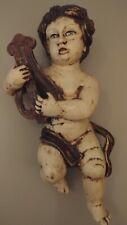 Vintage italian florentine toleware putti.cupid.figurine.13in ches. Blue eyes