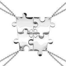 Freundschaftsketten Puzzle 4 teilig Ketten Familie Freunde Anhänger Edelstahl