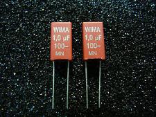 Wima MKS-2  1.0uF  100V Metallized Polyester Capacitor **NEW** 2/PKG