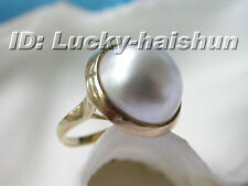 16.5mm South Sea white Mabe Pearl Ring 14KT j5992
