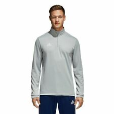 Adidas Men's Top Core 18 Collar Zip Polyester Football Sport Gym Grey CV4000