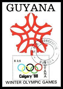 1988 GUYANA Souvenir Sheet - Winter Olympic Games - Calgary, Canada R1