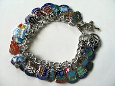 Good Vintage Solid Silver and Enamel Travel & Places Charm Bracelet