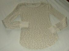Old Navy Beige & Cream Leopard Print Long Sleeve Thermal Knit Top Sz X-Small