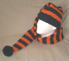 Combination tobaggan/knitted Hat/beanie and scarf-navy & orange striped, 5' long