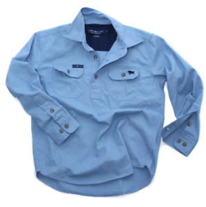 Ord River Denim Blue Half Button Kids Work Shirt Ringers Western