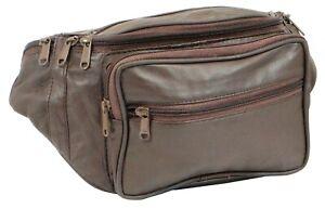 Genuine Leather Fanny Pack Large Multi Zippered Waist Bag Design Hip Purse
