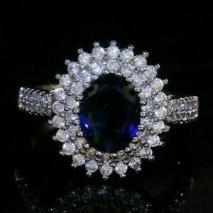 4Ct Oval Cut Blue Sapphire Double Engagement Wedding Ring 14K White Gold Finish