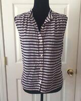 J.Crew Women's Stripe Sleeveless Button Up Blouse Shirt Top Size 4