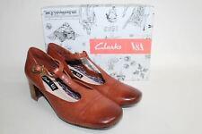 CLARKS Ladies V&A Tan Brown Leather Sondra Dee Court Shoes EU39.5 UK6 NEW