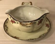 HAVILAND LIMOGES FRANCE PLAZA GRAVY BOAT W/ATTACHED UNDERPLATE GOLD HANDLE
