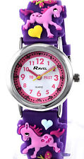 Ravel Childs Girls Kids Time Teacher Watch 3D Pony Small Wrist Silicone Strap