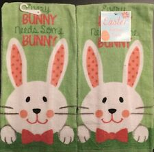 Set Of 2 Cute Easter Spring Bunny Rabbit Pink Kitchen Dish Hand Tea Bar Towels