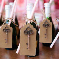 100×Skeleton Key Bottle Opener +Tag Card Wedding Favor Souvenirs Gifts for Guest