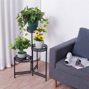 3-Tier Metal Plant Stand, 80cm Foldable Tall Plant Stand Plant Holder
