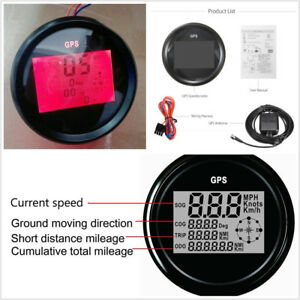 DC12/24V 300KM/H Car GPS LCD Digital Red Backlight Speedometer Gauge Meter 85mm