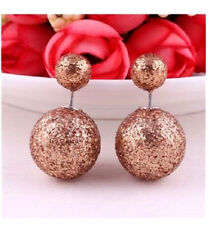 DOUBLE COFFEE GLITTER SPARKLE, BALL PEARL STUD EAR PLUG EARRING
