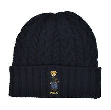 Polo Ralph Lauren Navy Cable Knit Wool Preppy Bear Cuff Hat Beanie New