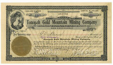 Tonopah Gold Mountain Mining Company. Stock Certificate. s/b J. L. Butler