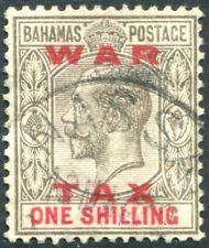 BAHAMAS-1919 1/- Grey-Black & Carmine War Tax Stamp Sg 104 FINE USED V22644