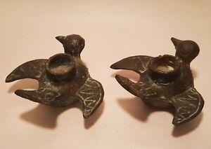 MUSEUM vtg bronze bird candle holder figurine artifact archaic primitive statue