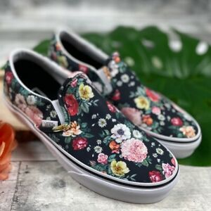 Vans Garden Floral Classic Black Slip On - Women's Size 5 or 6.5