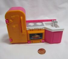 FISHER PRICE My First Dollhouse KITCHEN FRIDGE STOVE OVEN SINK Hot Pink Rare