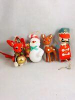 Vintage Christmas Ornaments Japan Flocked 4pc Deer Mouse Snowman Nutcracker