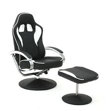 Video Gaming Chair High Back Racing Recliner Swivel With Ottoman Set Black White